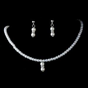 Lovely Children's Silver White Pearl Necklace & Earring Set for First Communion, Flower Girl