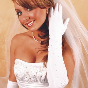 Above the Elbow Glove with Scattered Rhinestones for Quinceanera, Mis Quince Anos, Sweet 16