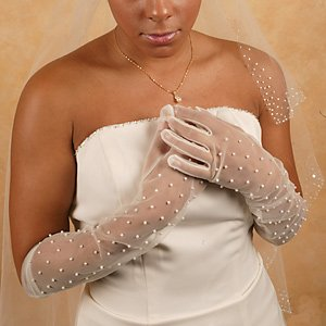 Sheer Above the Elbow Gloves with Scattered Pearls for Wedding, Bridal