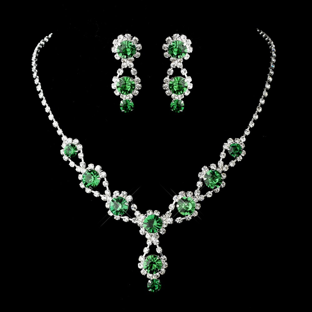 Emerald Crystal and Rhinestone Quinceanera, Mis Quince Anos, Sweet 16 Prom Jewelry