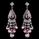 Pink Rhinestone Earrings for Wedding, Bride
