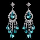 Teal Rhinestone Earrings for Brides, Wedding