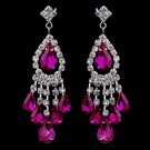 6 Pair of Fuchsia Rhinestone Earrings for Quinceanera or Mis Quince Anos Damas