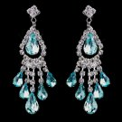 6 Pair of Aqua Rhinestone Earrings for Quinceanera or Mis Quince Anos Damas