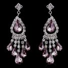 Light Amethyst Rhinestone Earrings for Wedding, Bride