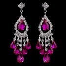 Fuchsia Rhinestone Earrings for Wedding, Bride