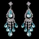 Aqua Rhinestone Earrings for Wedding, Bride