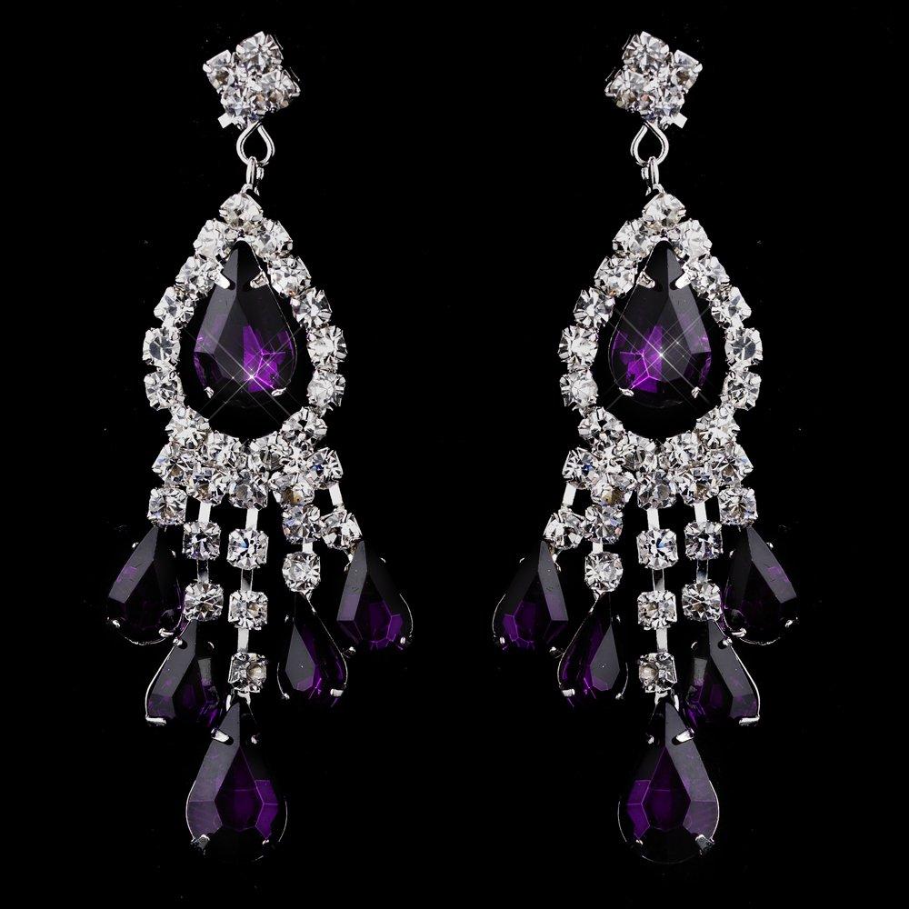 amethyst purple rhinestone earrings for quinceanera or mis