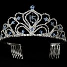 Light Blue Mis Quince Anos Quinceanera Tiara with Clear Crystals