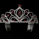 Burgundy Sweet 16 Tiara with Clear Crystals