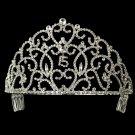 Regal Silver Quinceanera, Mis Quince Anos Rhinestone Tiara Crown
