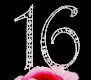 Dazzling Crystal Sweet 16 Cake Topper