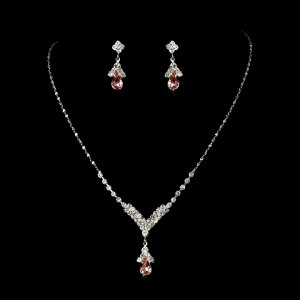 Pink Rhinestone with Silver Jewelry Set for Wedding, Bridal