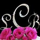 French Flower Crystal Accented Monogram Bridal, Wedding Cake Topper Set