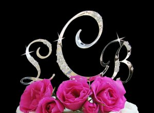 French Flower Crystal Accented Monogram Bridal, Wedding Cake Topper Set