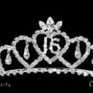 "Eye Catching Sweet 16 Tiara with ""16"" and Dangling Teardrop Rhinestones"