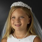 First Communion Veil with Pearl and Rhinestone Headpiece