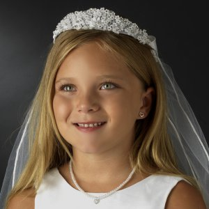 White First Communion Veil with Pearl and Rhinestone Headpiece