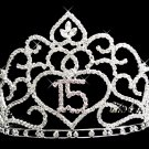 Lovely Floral Quinceanera Mis Quince Anos 15 Tiara with Clear Rhinestones