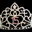 Lovely Floral Quinceanera Mis Quince Anos 15 Tiara with Pink and Clear Rhinestones