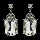 Antique Silver Clear Oval Rhinestone Bridal Stud Earrings