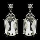 Antique Silver Clear Emerald Cut Rhinestone Bridal Earrings