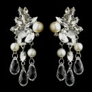 Antique Silver Pearl, Crystal and Rhinestone Earrings