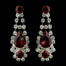 Silver Clear Crystal & Red Rhinestone Earrings
