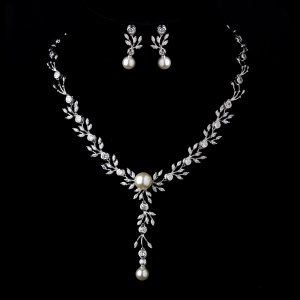 Silver Ivory Pearl & Clear CZ Crystal Necklace & Earrings