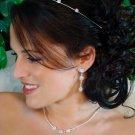 Antique Silver Clear Multi Cut CZ Stone Necklace & Earrings Jewelry Set