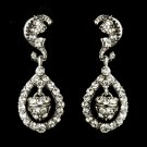 Antique Silver Clear Kate Middleton Acorn Crystal Earrings