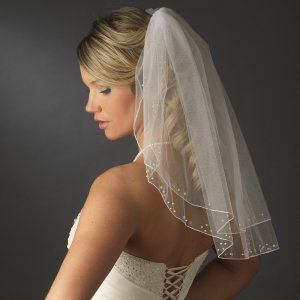 White First Communion Veil with Pearls and Sequins