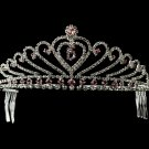 Elegant Pink and Clear Rhinestone Quinceanera Tiara