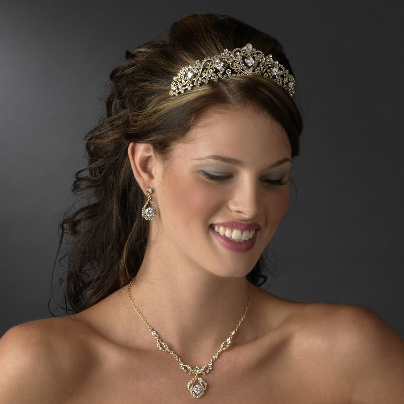Princess Tiara in Gold Quinceanera,Mis Quince Anos or Prom