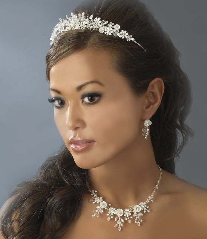 Ivory Porcelain and Crystal Wedding Tiara and Jewelry Set
