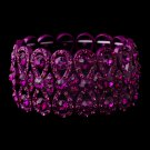 Fuchsia Crystal Bowtie Stretch Quinceanera Bracelet