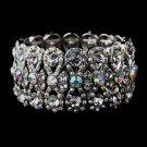 Aurora Borealis Crystal Bowtie Stretch Quinceanera Bracelet