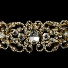 Elegant Gold Rhinestone Wedding, Bridal Bracelet
