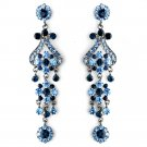 "Bold 4"" Navy and Light Blue Crystal Quinceanera, Sweet 16 or Prom  Chandelier Earrings"