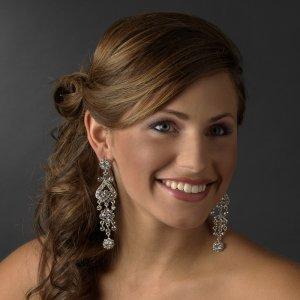 """Bold 4"""" Clear Crystal Chandelier Earrings"""