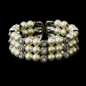 Antique Silver Ivory Pearl & Rhinestone Quinceanera Cuff Bracelet