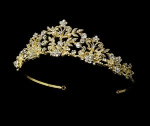 Golden Crystal Tiara with Pearl Accents for Bride
