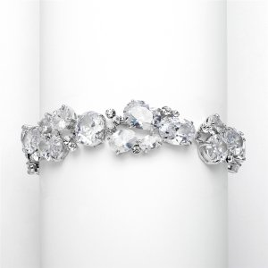 Exquisite Bridal or Evening Bracelet with Multi Cubic Zirconia Shapes