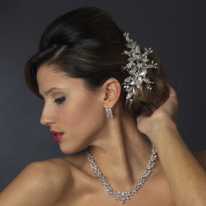 Vintage Crystal Vine Bridal Comb with Silver CZ Necklace and Earring Jewelry Set