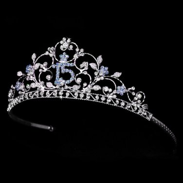 "Sweet Fifteen 15 Mis Quince Anos Quinceanera Blue Rhinestone 2"" Tiara"