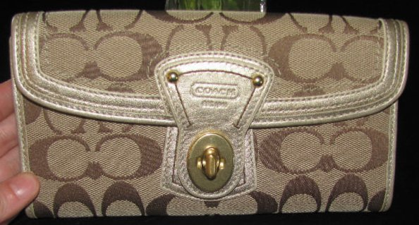 COACH Gold Signature Turnlock Wallet
