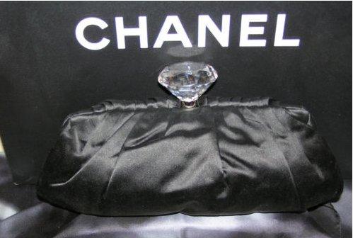 CHANEL CRYSTAL DIAMOND CC CLASP BLACK SILK CLUTCH BAG
