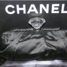 CHANEL CRYSTAL DIAMOND CC CLASP BLACK SILK CLUTCH BAG