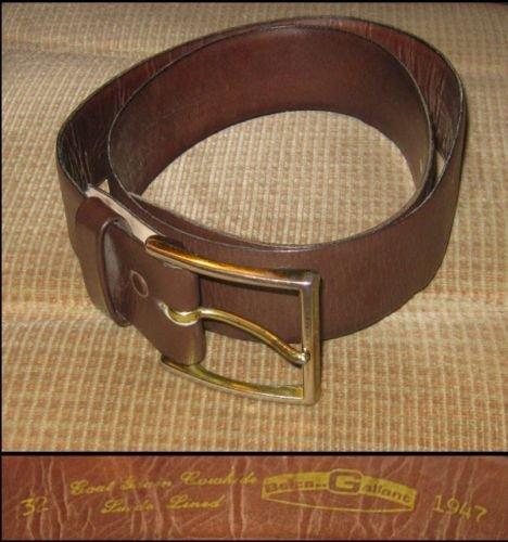 Vtg 1947 Brown GALLANT Leather / Suede Lined Belt sz32