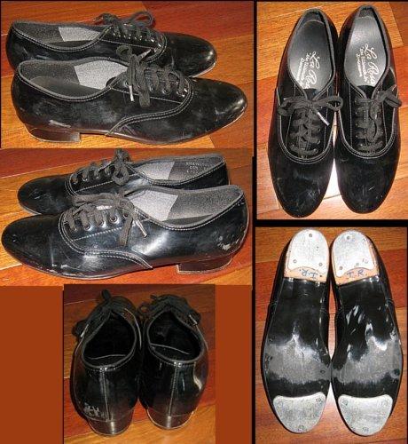 LA ROSA Black Patent Leather Tap Shoes Boys 6.5/Girls 8